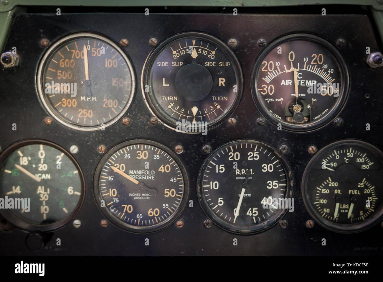 Aircraft aviation gauges of an old aircraft closeup - Stock Image