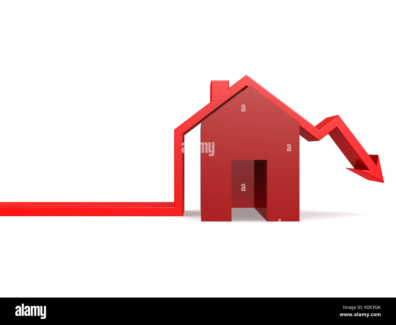 House market is going down on white, 3D rendering - Stock Image