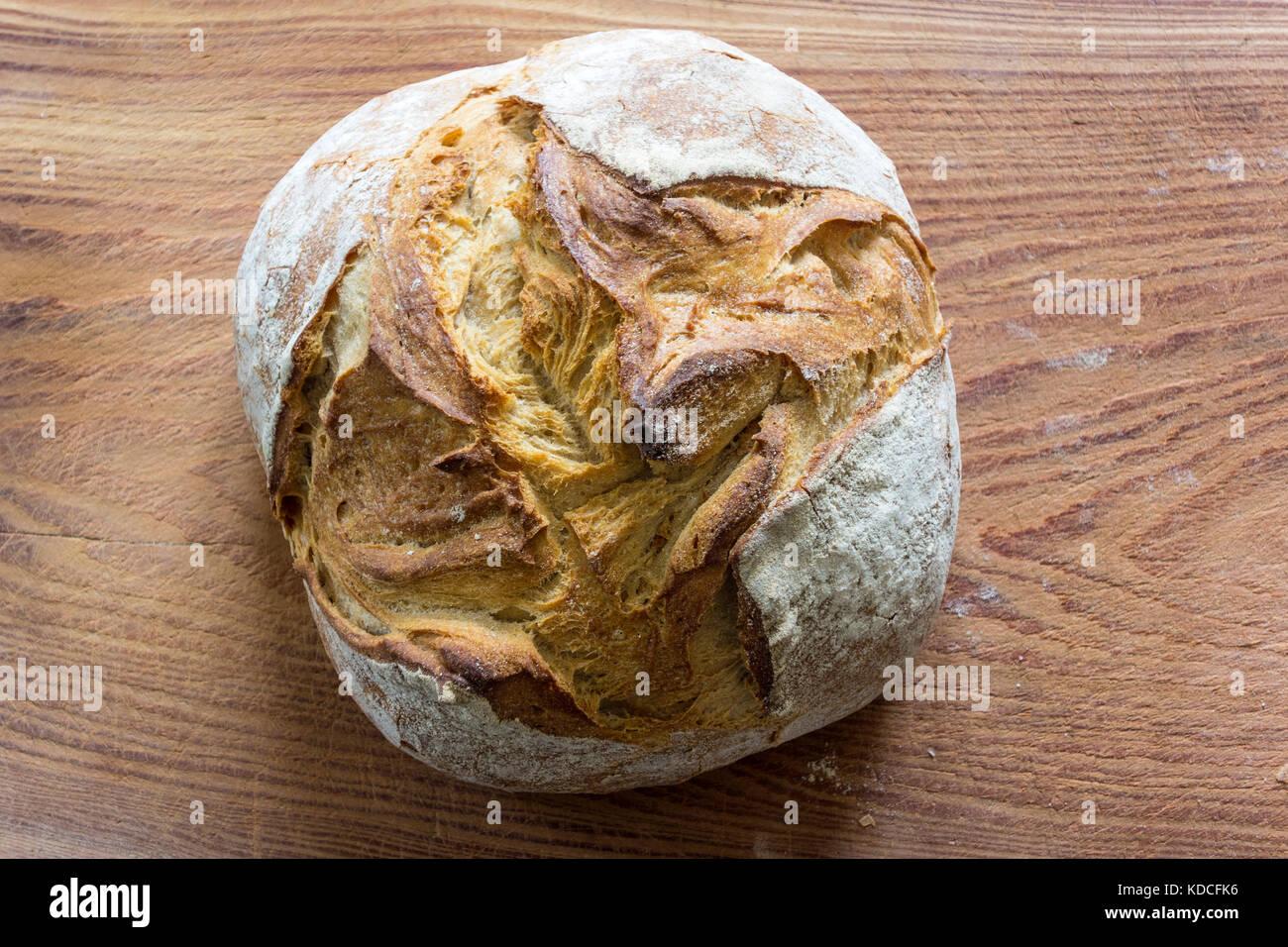 Loaf of Fresh Spelt Bread - Stock Image