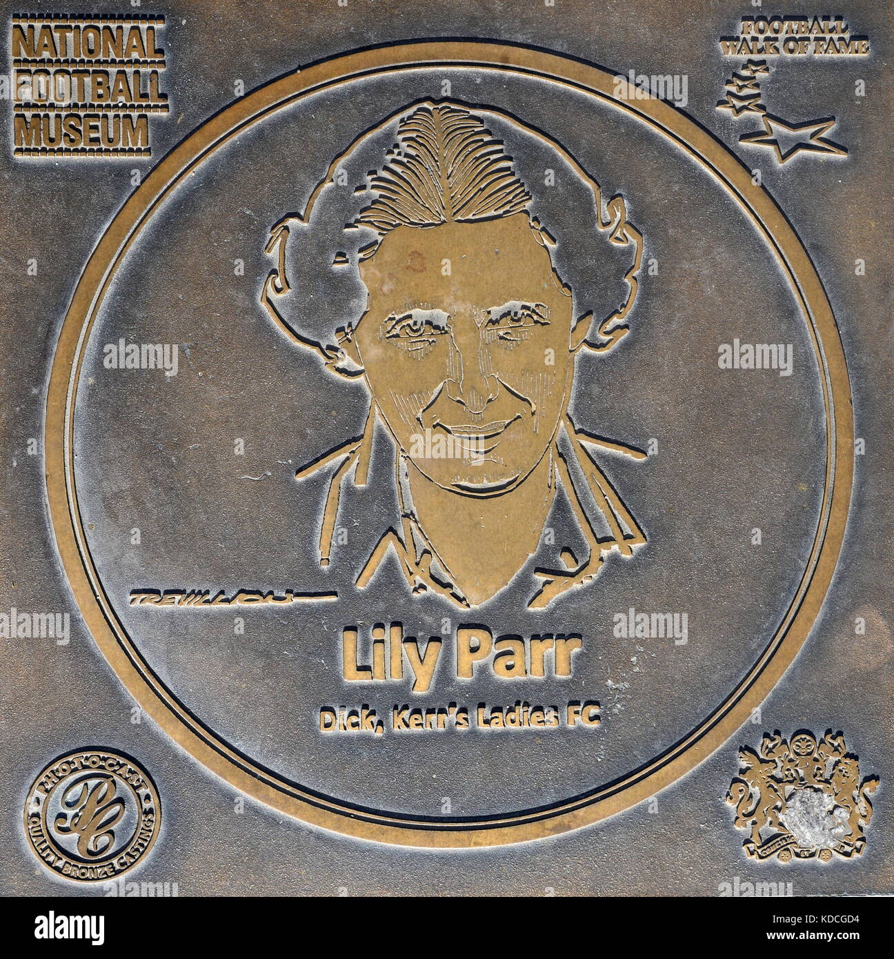 Lily Parr plaque at the National Football Museum - Stock Image
