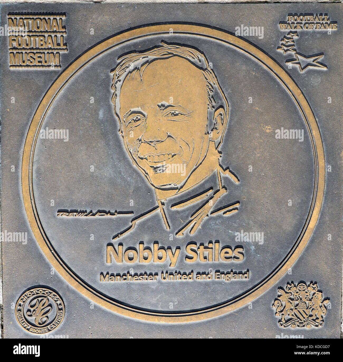 Nobby Stiles plaque at the National Football Museum - Stock Image
