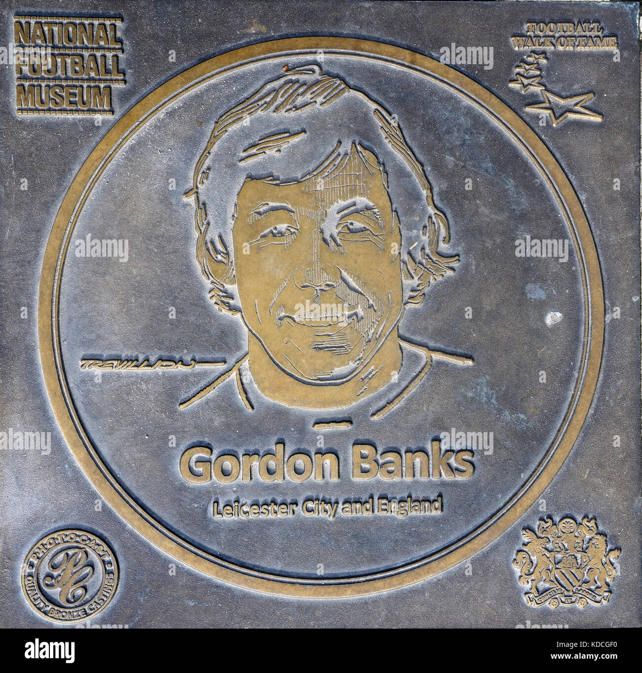Gordon Banks plaque at the National Football Museum - Stock Image