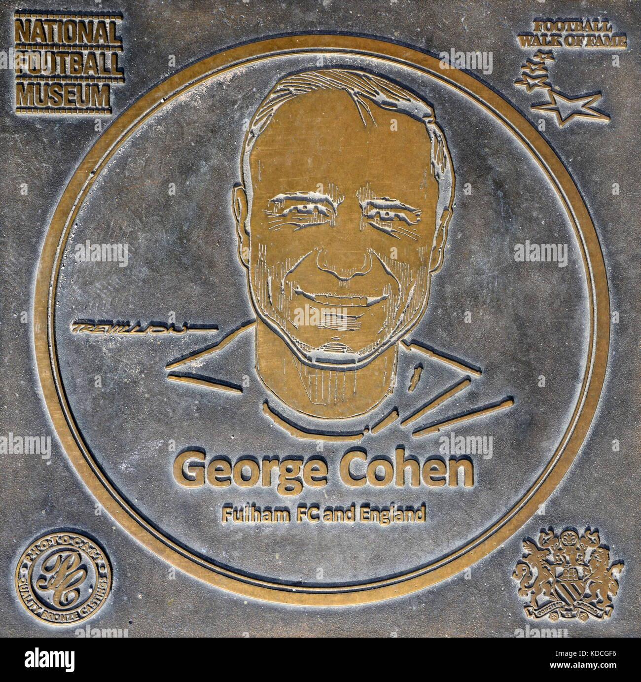 George Cohen Plaque at National Football Museum - Stock Image