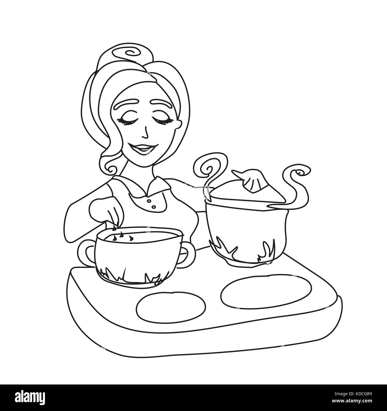 Female Cartoon Chef Black And White Stock Photos Images Alamy