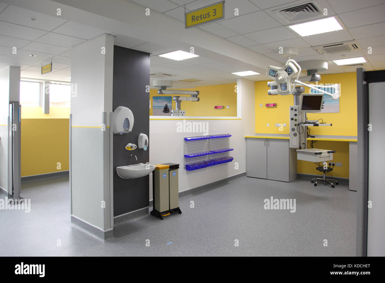 Interior view of the new accident and emergency unit at Newham University Hospital in London, UK - Stock Image