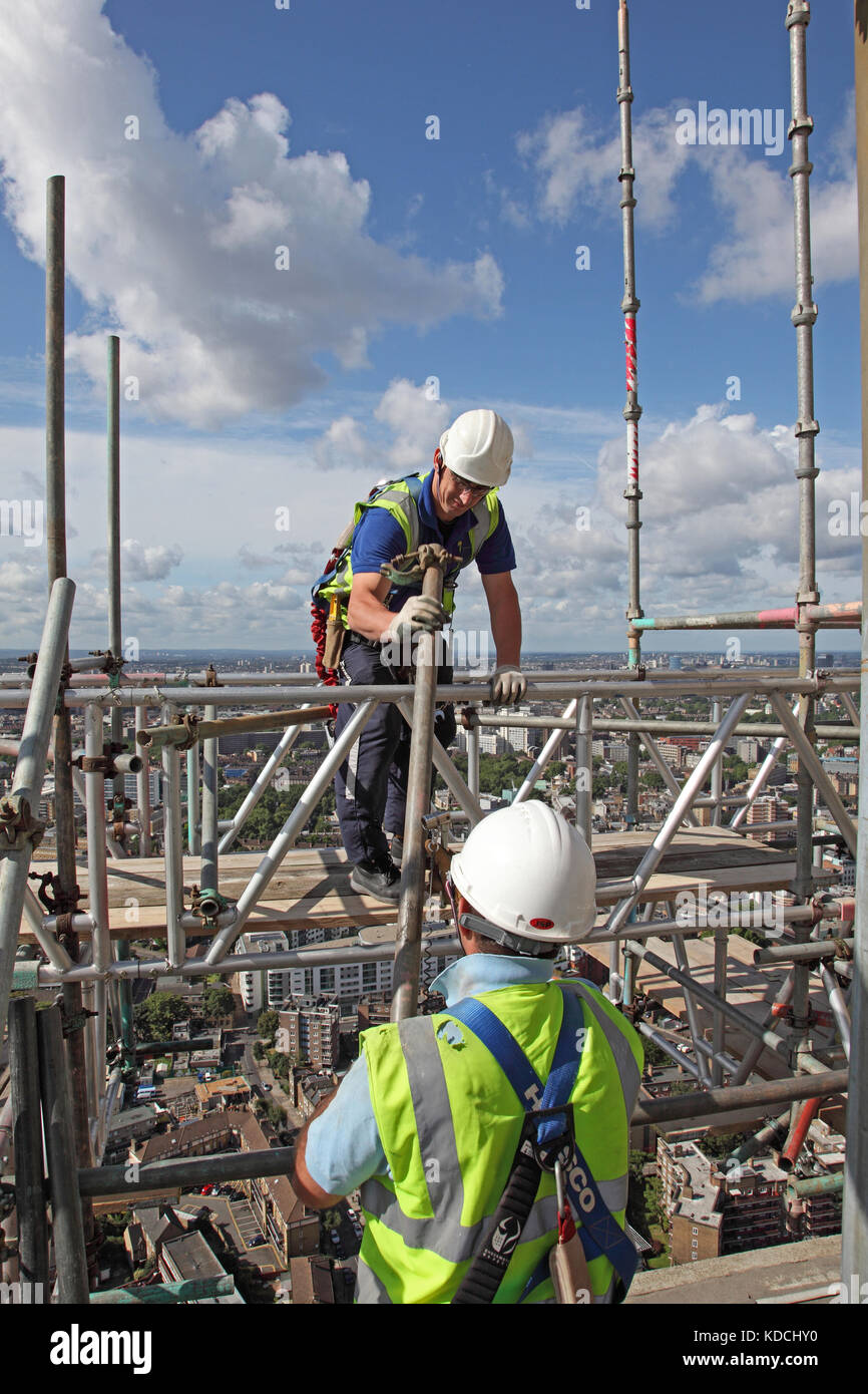 pretty cheap cheap sale special sales Two scaffolders erect a temporary work platform on a tower ...
