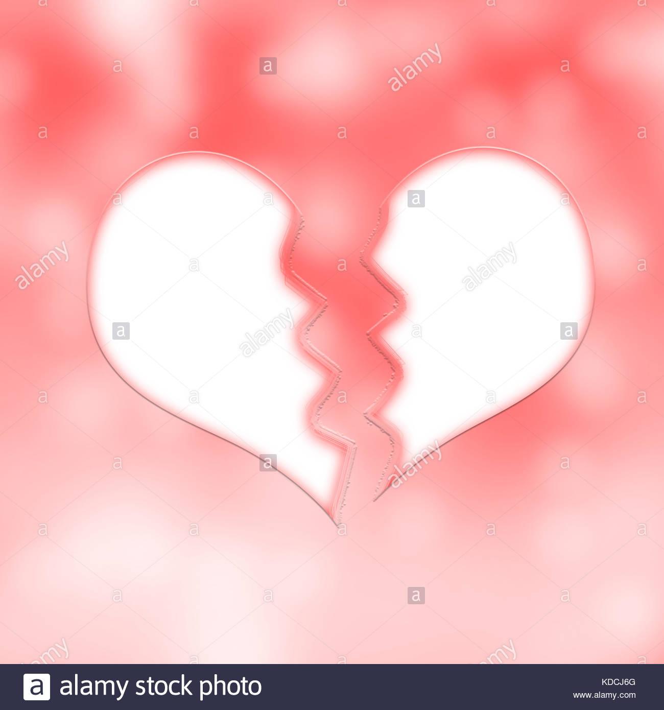 Bright white color broken heart symbol on blurred red an white light bokeh illustration background. Conceptual broken - Stock Image