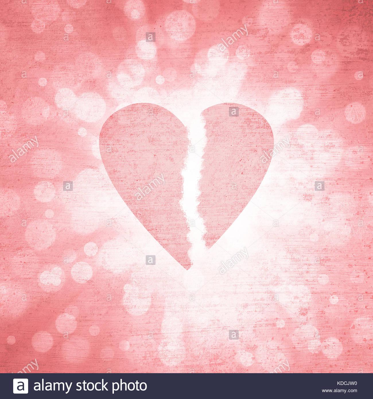 Grunge textured bright red color broken heart symbol on grunge radial blurred red light bokeh illustration background. - Stock Image