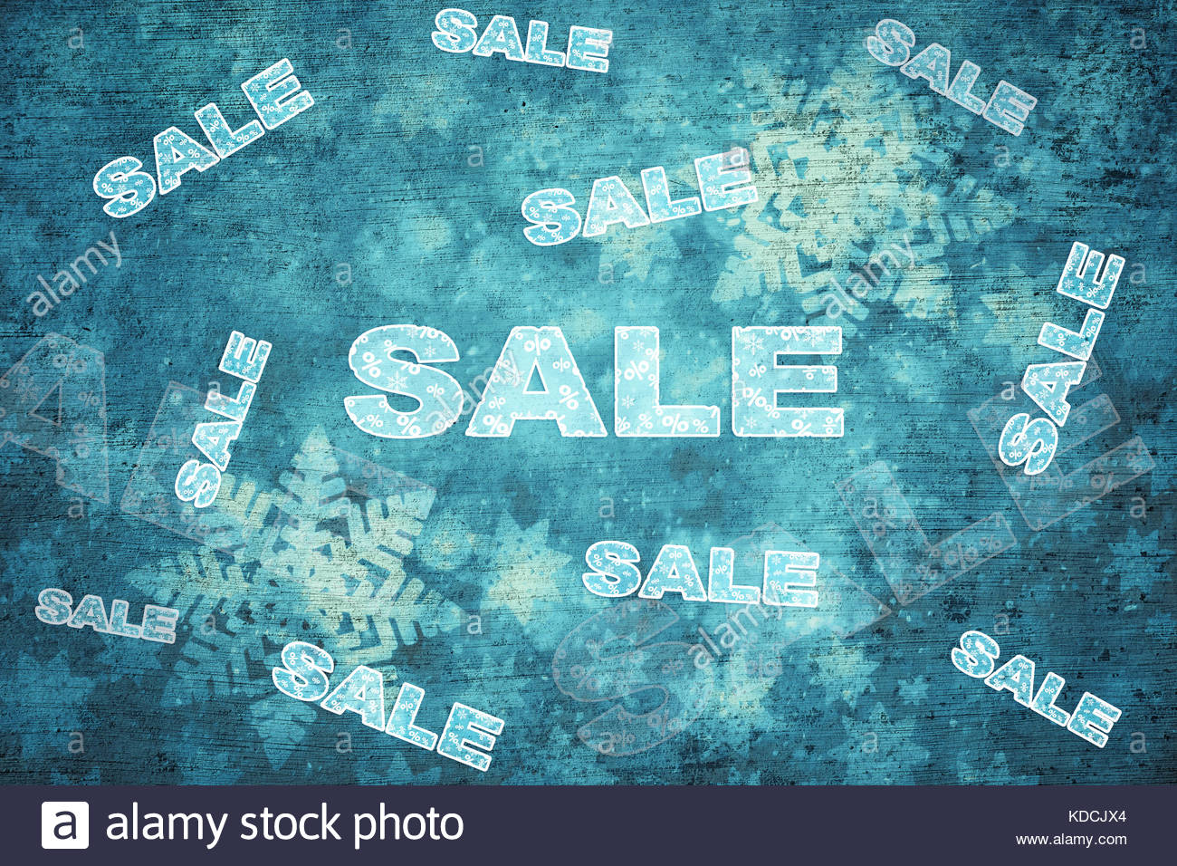 Grunge turquoise blue color winter season sale background witch optional discounts copy space background and procent - Stock Image