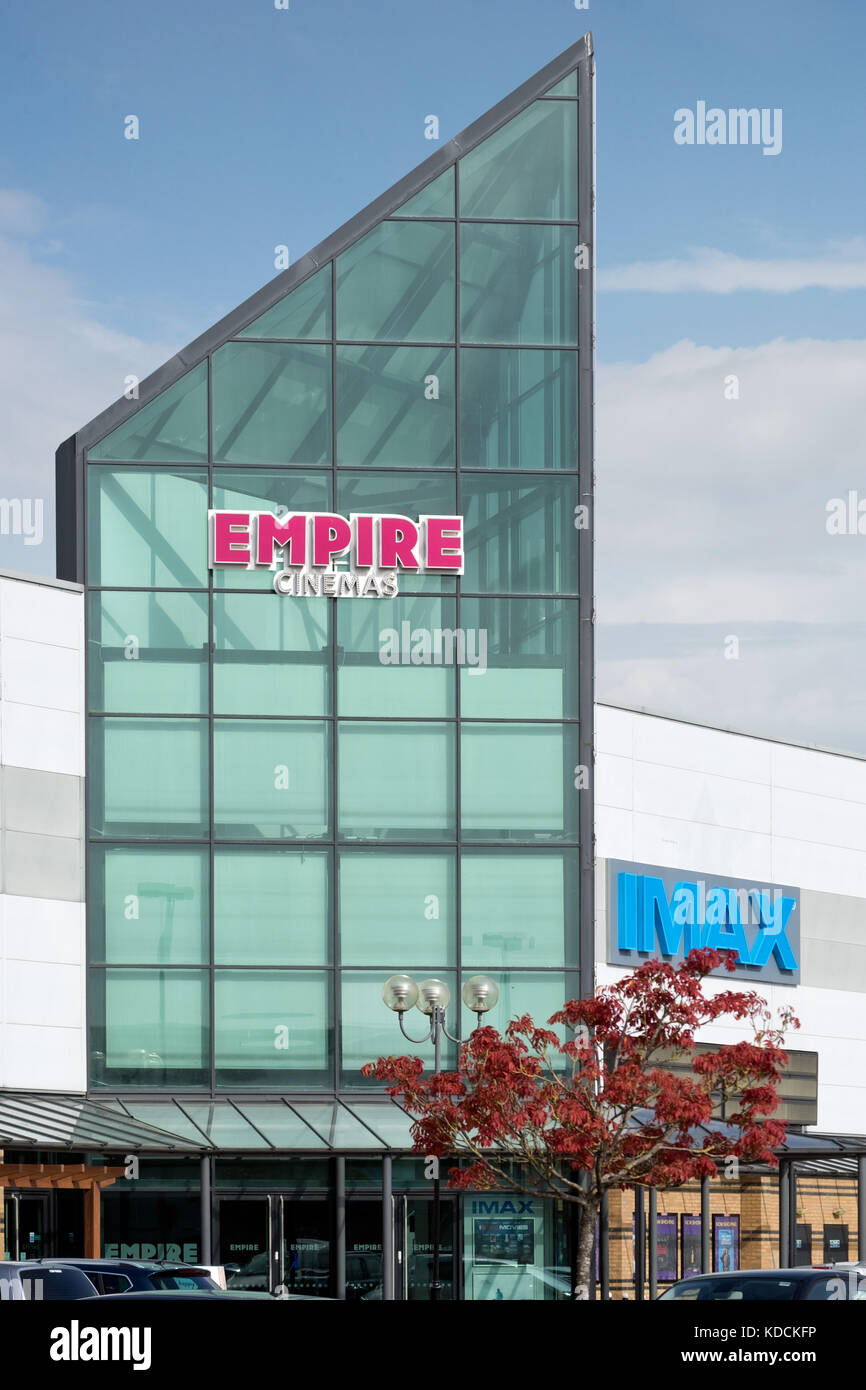 The imposing, glazed front above the entrance to the Empire cinema & Imax theatre at Greenbridge retail park - Stock Image