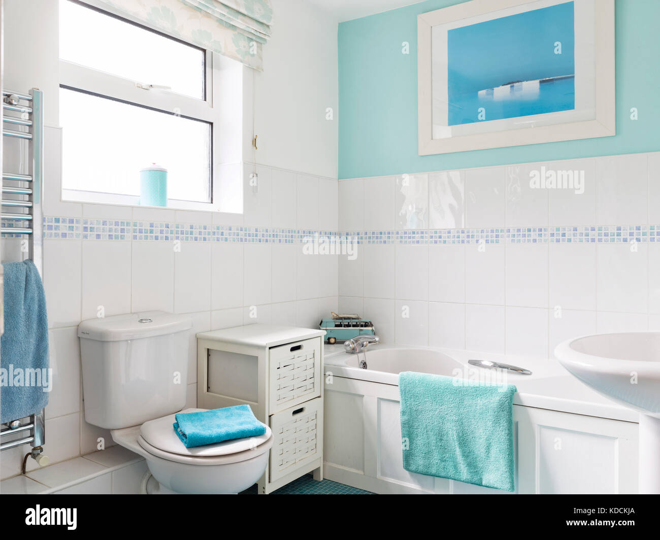 A typical small modern family bathroom in an average UK home. - Stock Image