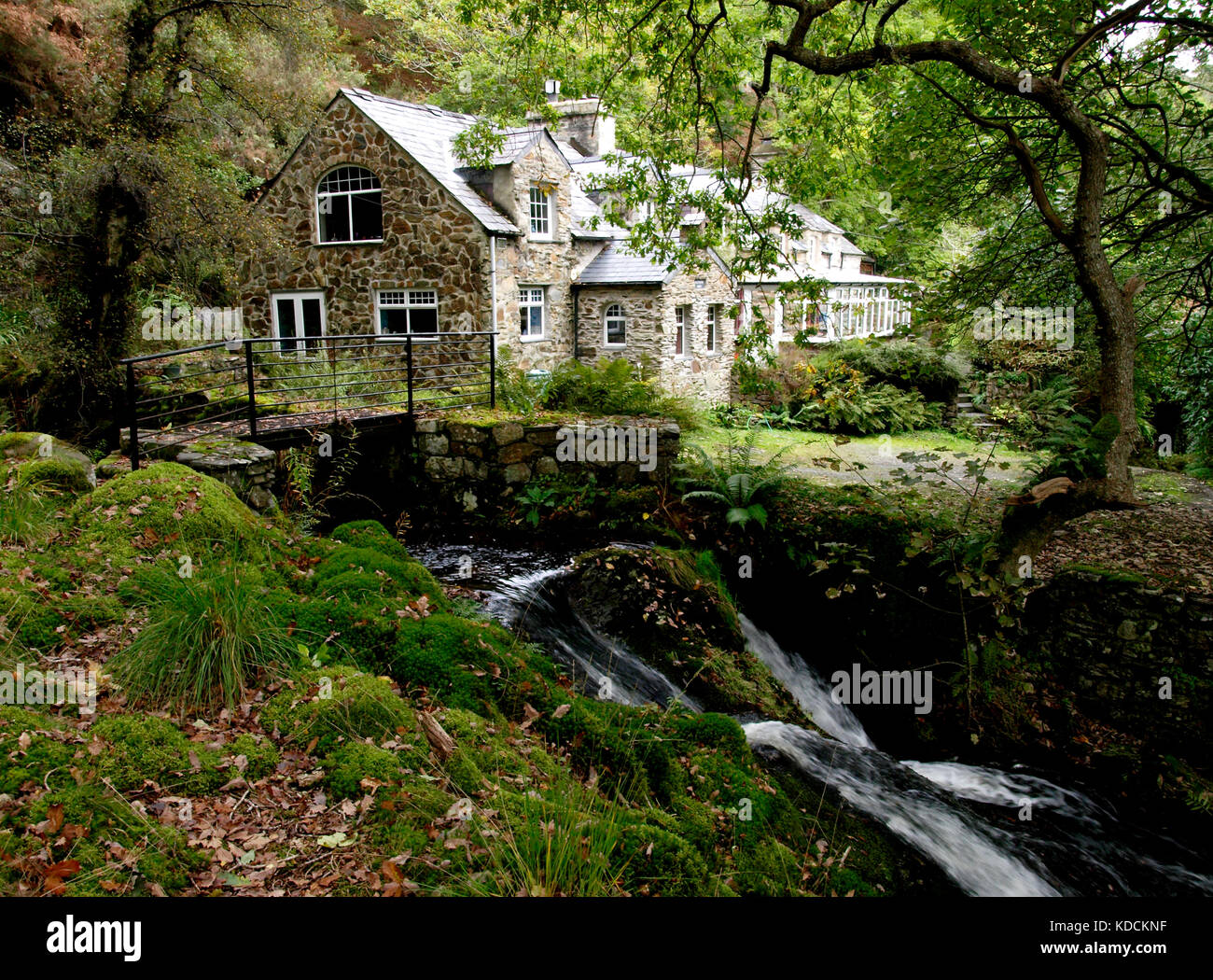 Stone House In The Woods Next To A River Gwynedd Snowdonia National Park North Wales UK