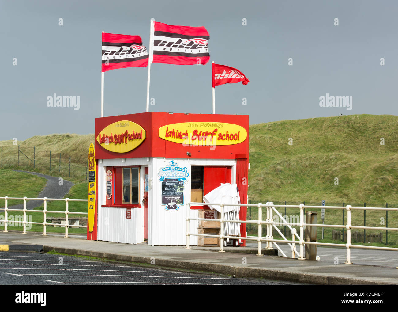 Lahinch Surf School kiosk at Lahinch beach in County Clare, Ireland - Stock Image