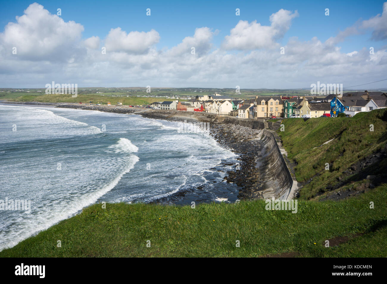 Coastline at the town of Lahinch in county Clare on the Atlantic west coast of Ireland - Stock Image