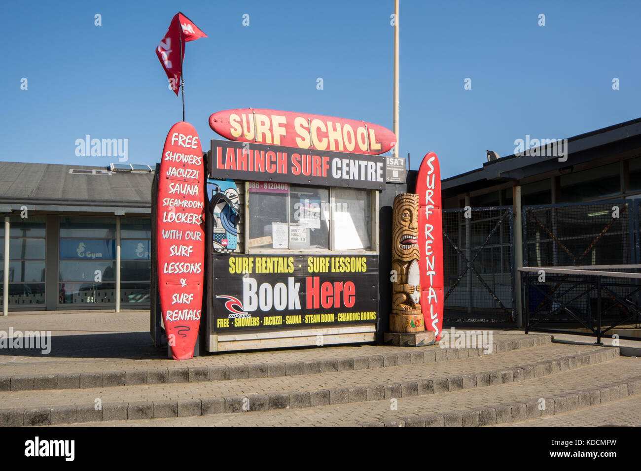 Bookings kiosk for Lahinch Surf Centre at the seafront in Lahinch in County Clare on west coast of Ireland - Stock Image