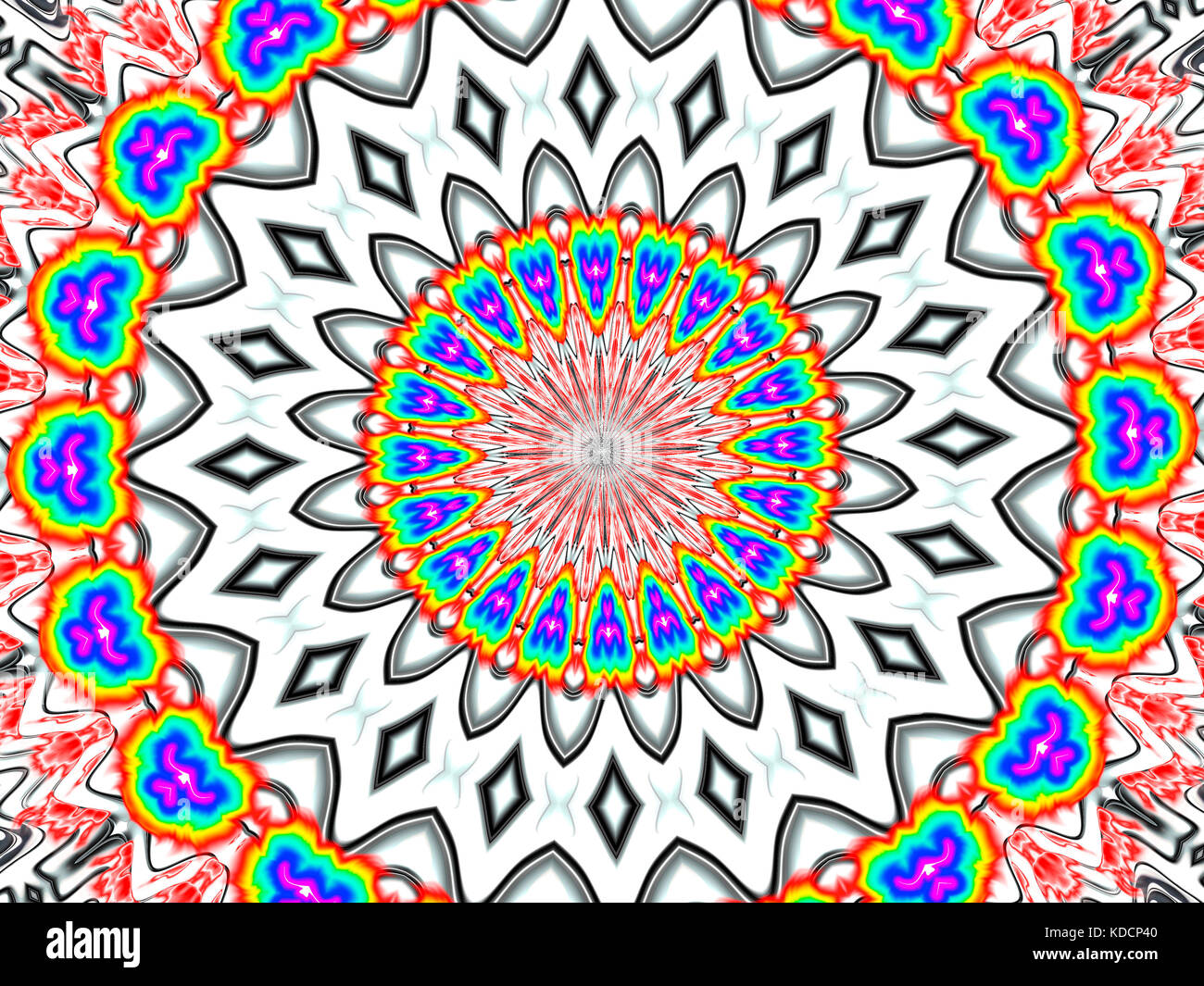 Psychedelic Silver Star - Stock Image