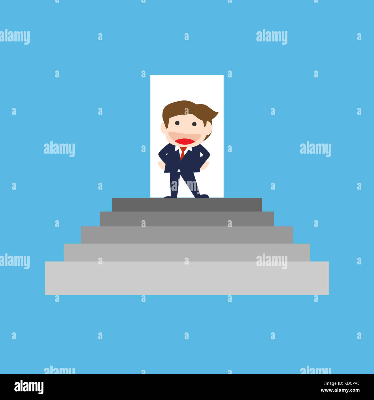 Businessman Standing On The Stair Vector Cartoon Stock Photo Alamy