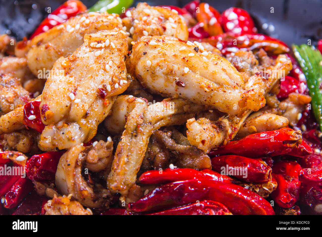fried chicken with chili - Stock Image