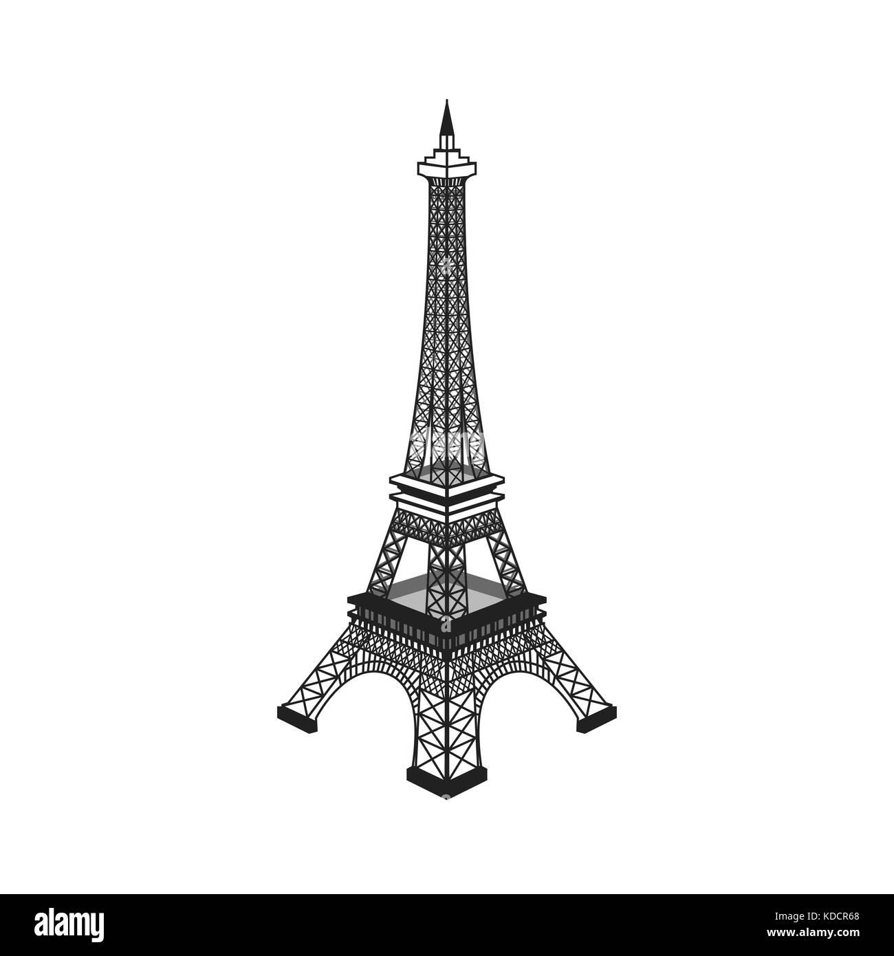 Eiffel tower vector illustration ,Paris. Icon design - Stock Image