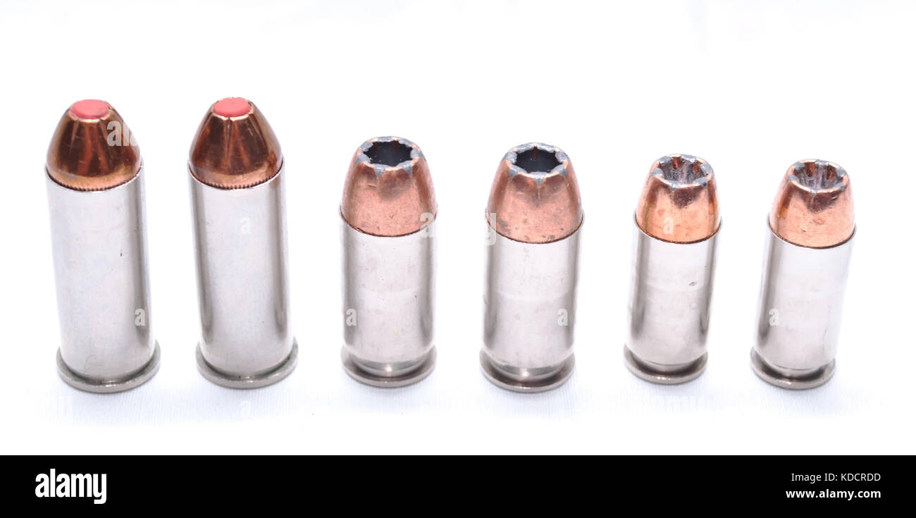 Three different types of hollow point bullets, 44spl, 357 magnum, 9mm - Stock Image