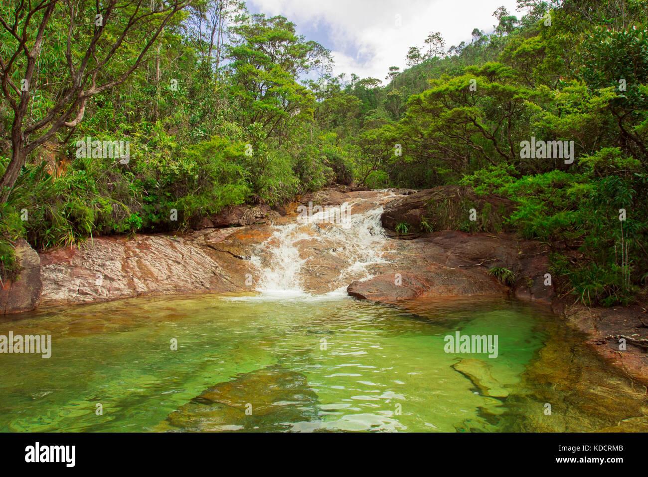 waterfall in tropical rainforest, Chemerong Berembun Langsir, CBL, malaysia - Stock Image