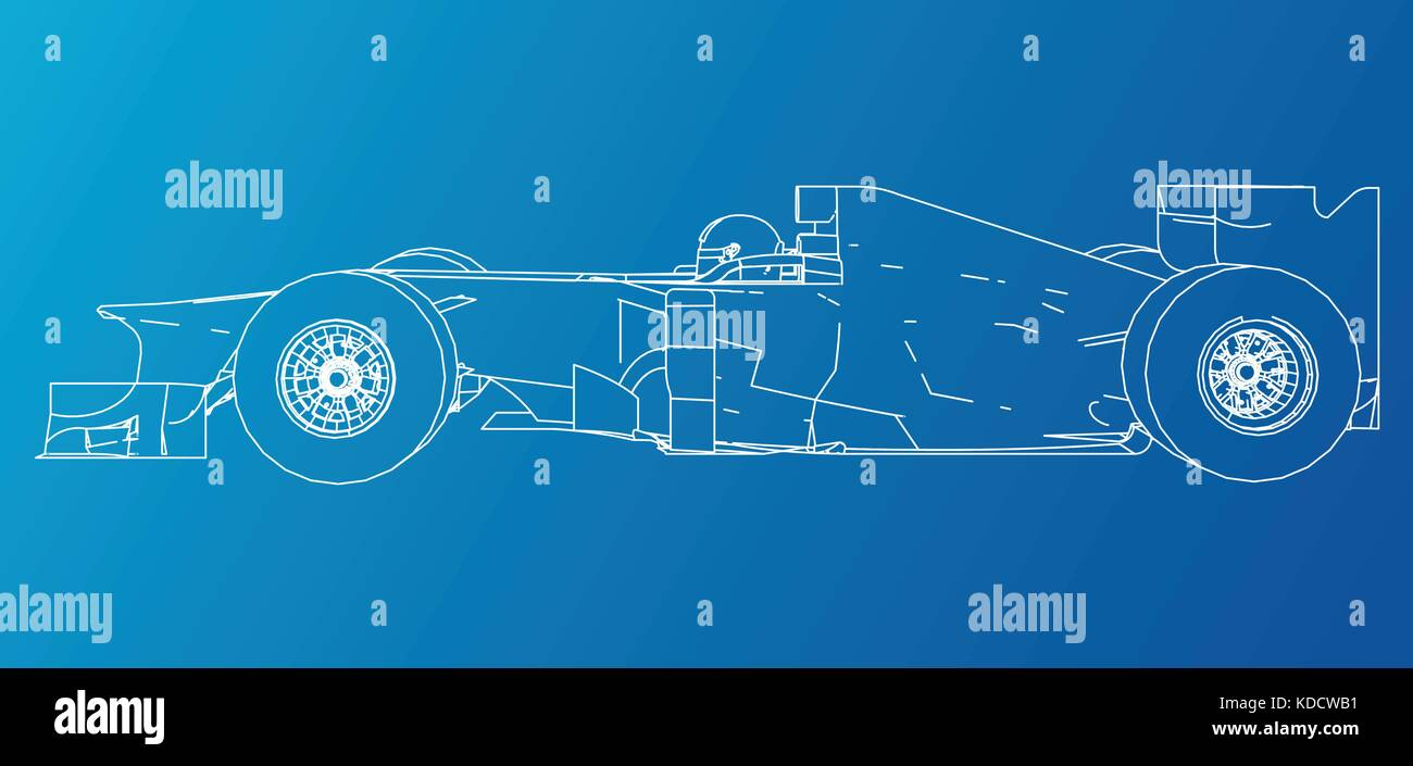 Racing car. Wire-frame. EPS10 format. Vector rendering of 3d Stock ...