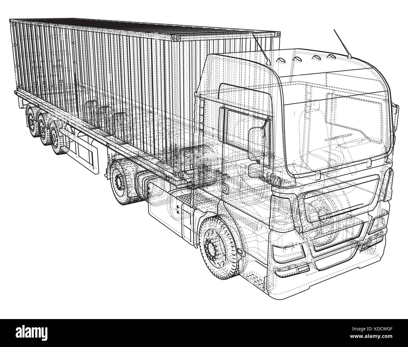 Top View Tractor Trailer Illustration Stock Photos Car Wiring Image Search Results Cargo Truck Wire Frame Eps10 Format Vector Rendering Of 3d