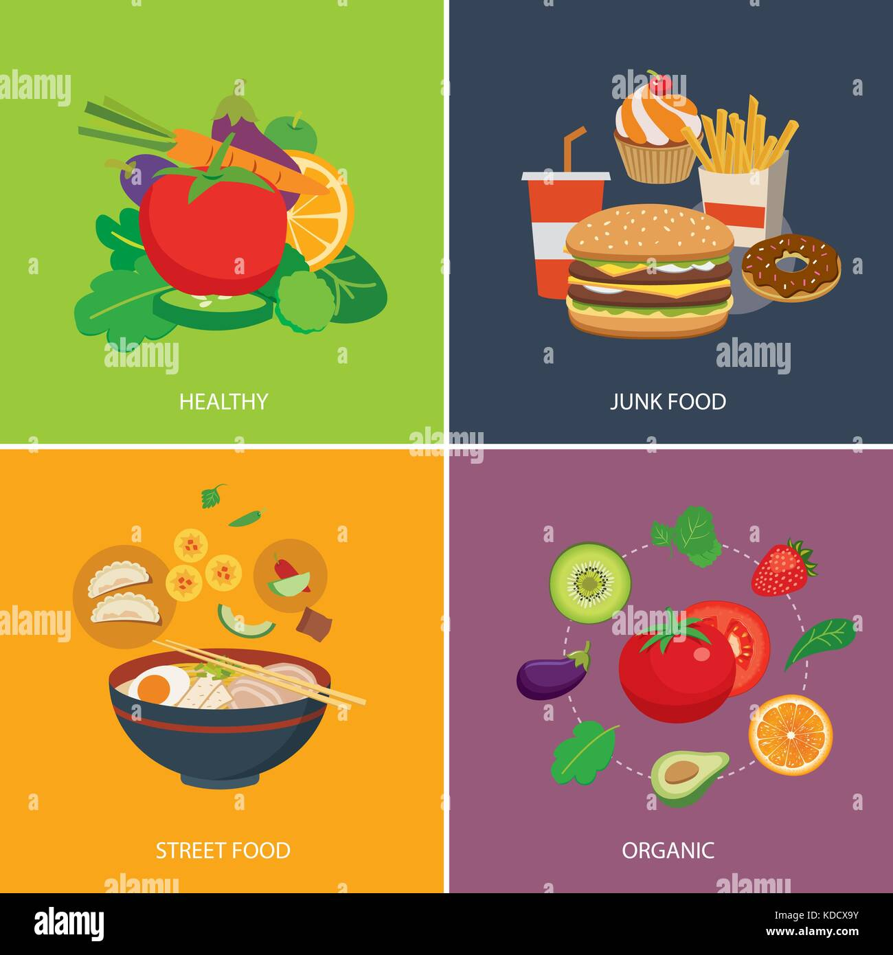set of flat design concept  for food - Stock Vector