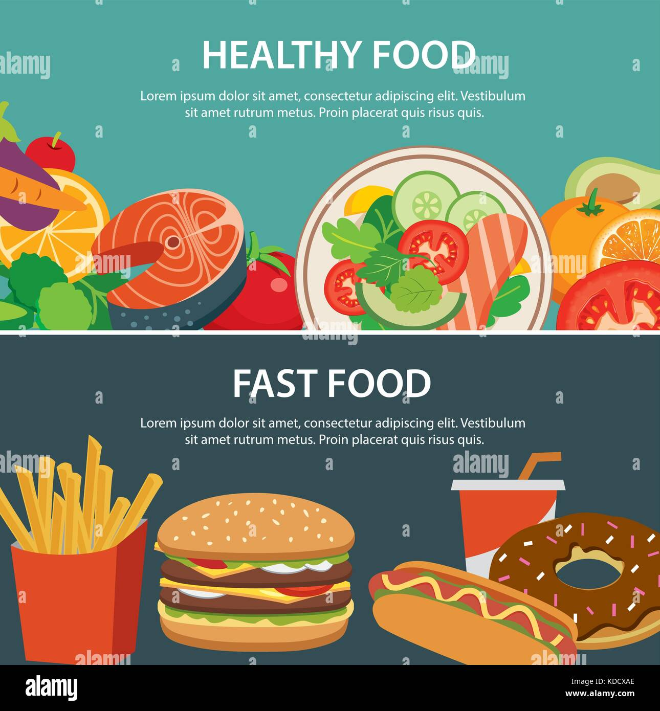 healthy food and fast food concept banner flat design - Stock Vector