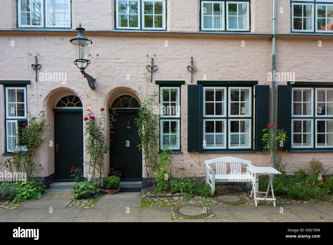 Füchtingshof / Fuechting's Courtyard in the Hanseatic town Lübeck / Luebeck, Schleswig-Holstein, Germany - Stock Image