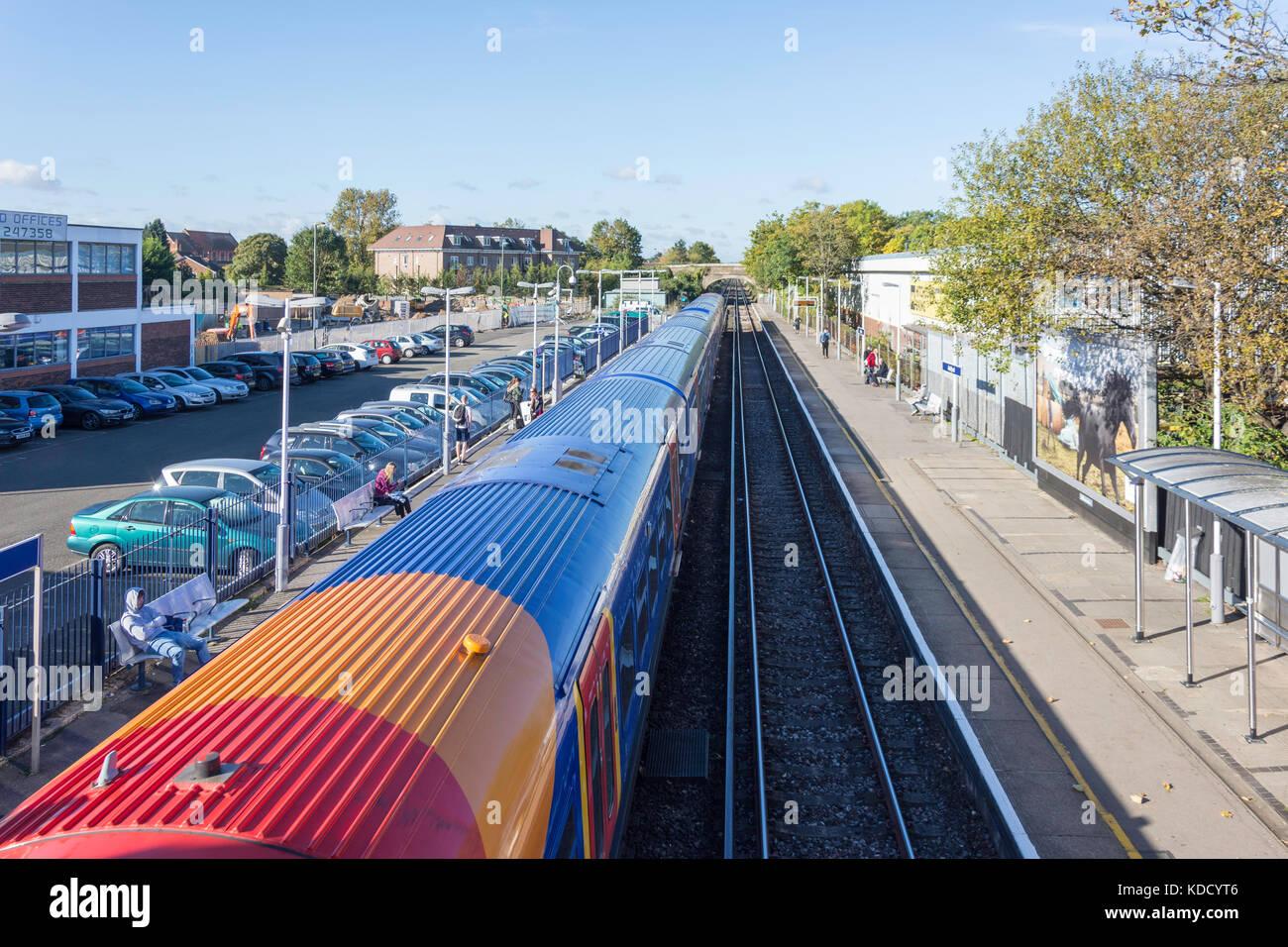 South West Train at Ashford Railway Station, Ashford, Surrey, England, United Kingdom - Stock Image