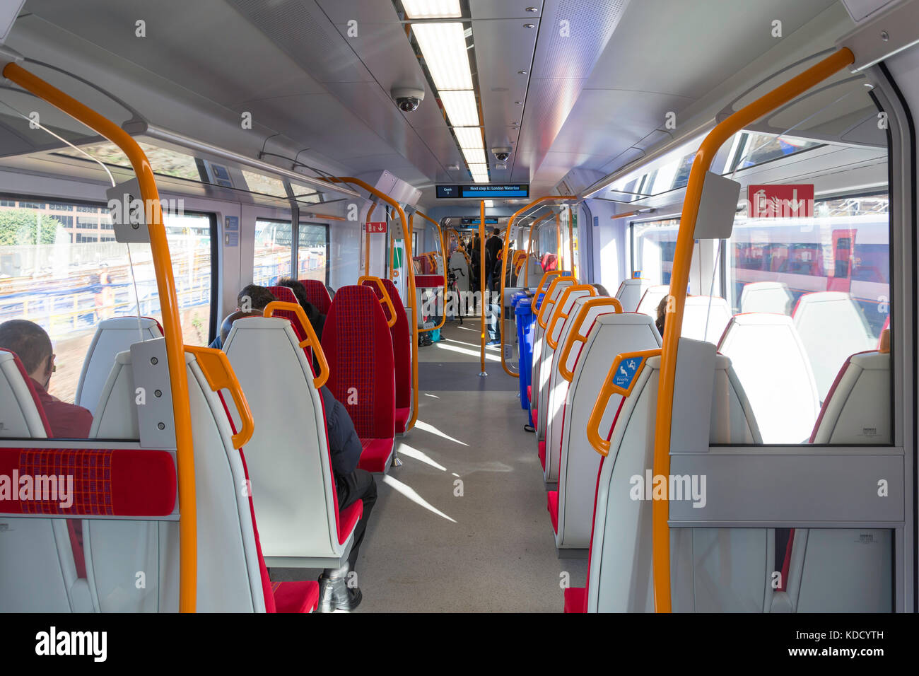 Interior of South West Train, Greater London, England, United Kingdom - Stock Image