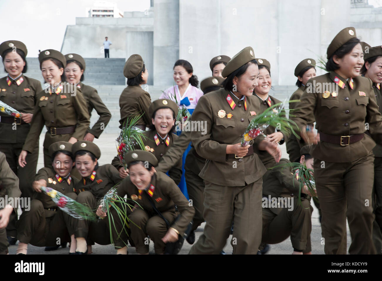 Rassemblement militaire pour une photo de groupe à la tour du Juché à Pyongyang le 9 octobre 2012. Military meeting Stock Photo