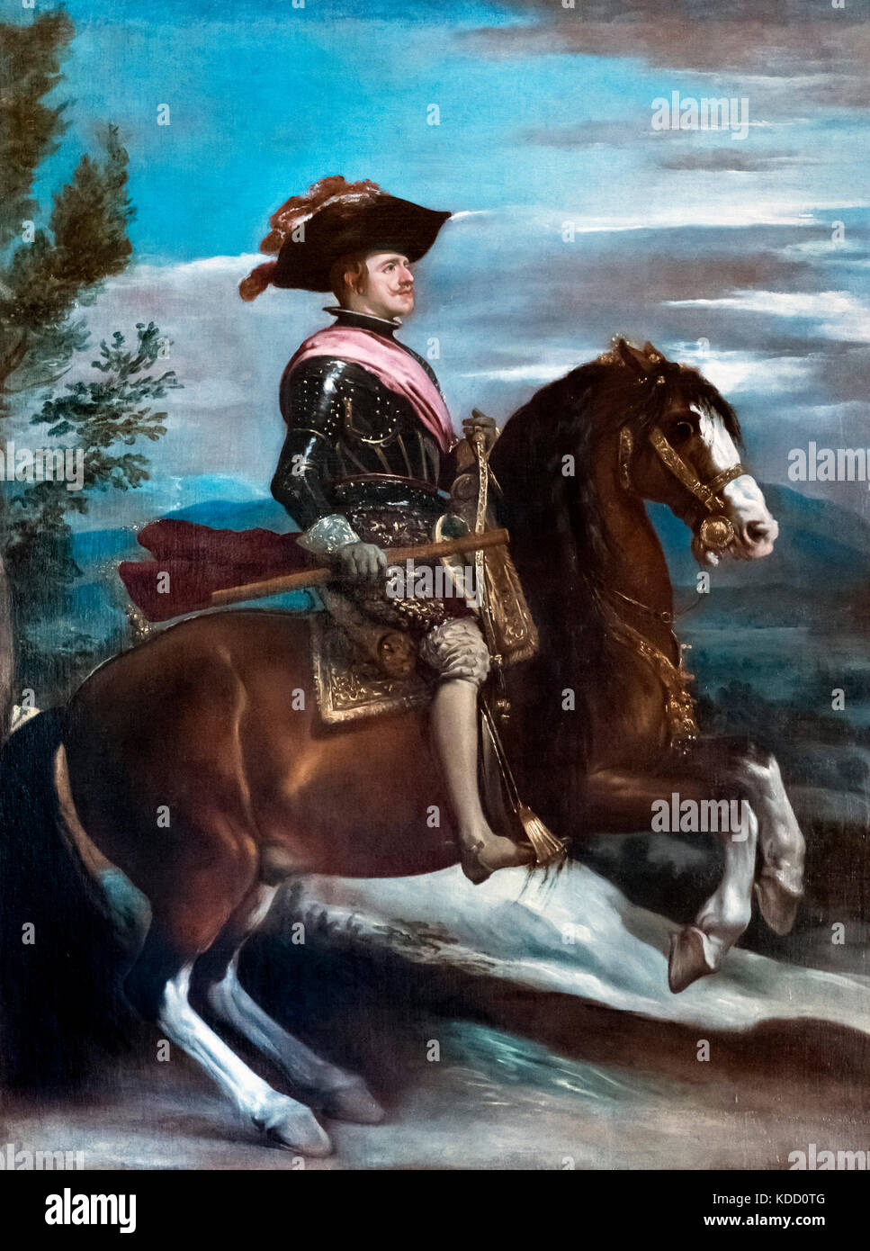 Philip IV of Spain. Equestrian portrait of King Philip IV of Spain by Diego Velazquez, oil on canvas, c.1635 - Stock Image
