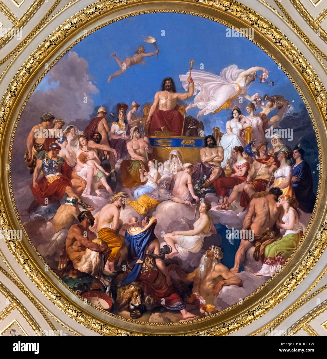 Assembly of the Gods presided over by Jupiter, painting on the ceiling of the Iliad Room, Palatine Gallery, Palazzo - Stock Image