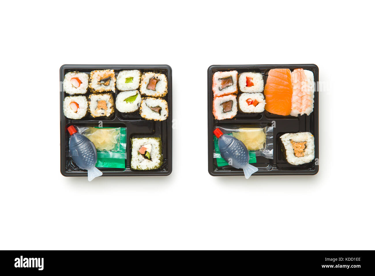 Eating set of sushi in box. Different types of sushi. Top view. - Stock Image