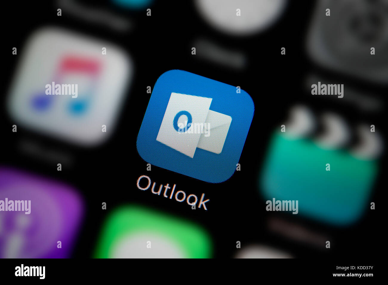 A close-up shot of the logo representing Microsoft Outlook app icon, as seen on the screen of a smart phone (Editorial - Stock Image