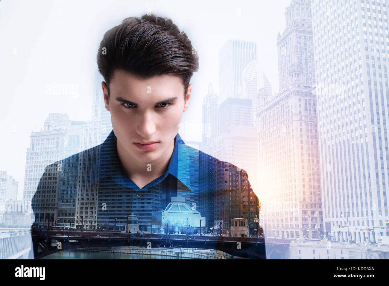 Furious teenager looking at you with negativity Stock Photo