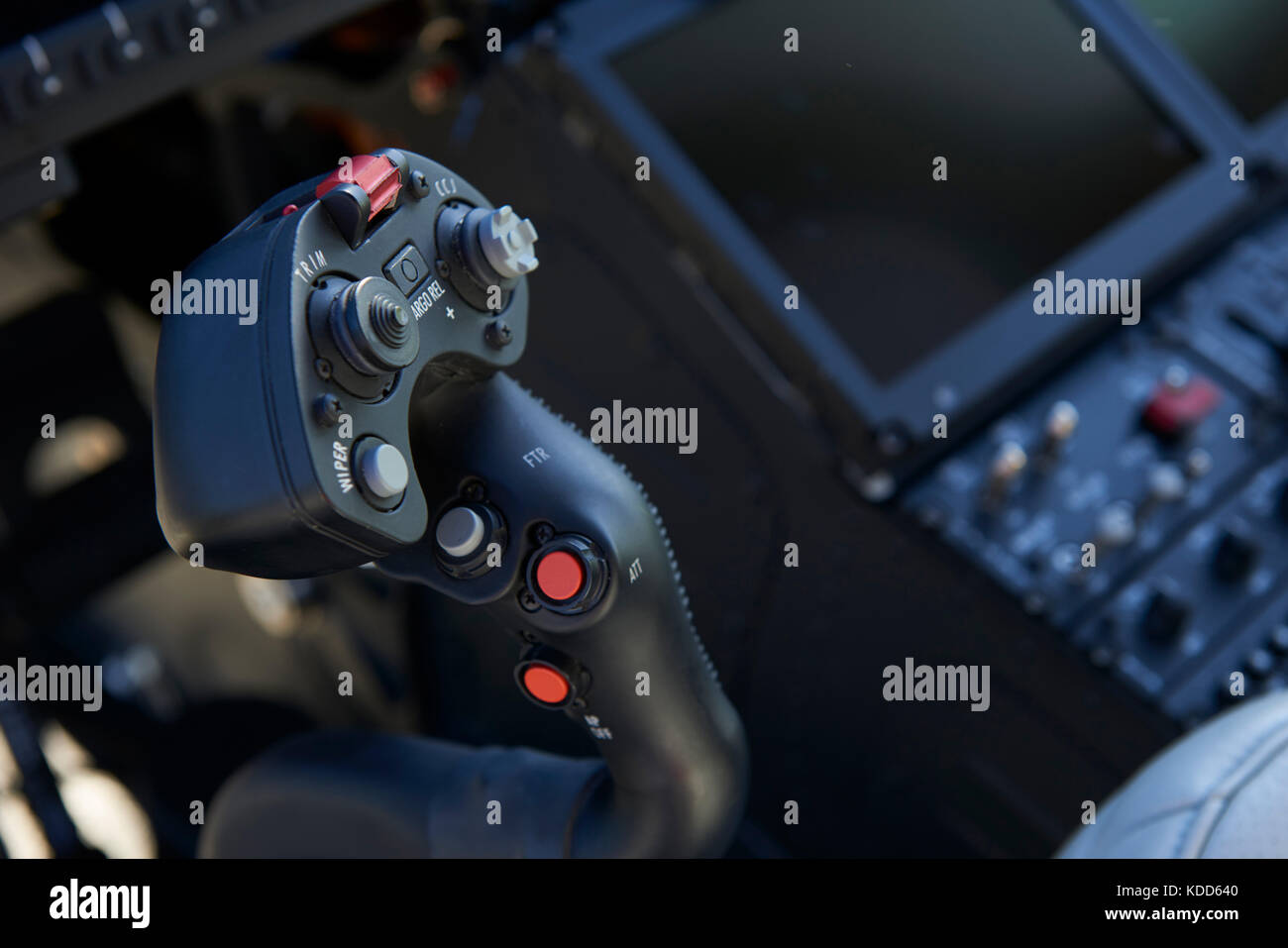 Close Up Of Joystick In Helicopter Cockpit - Stock Image