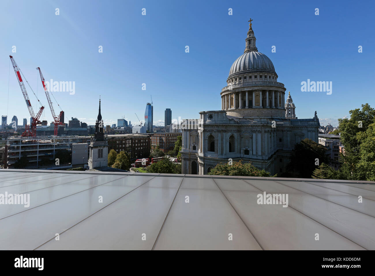 LONDON, ENGLAND - SEPTEMBER 2017; View from the top of the shopping center called One New Change. - Stock Image