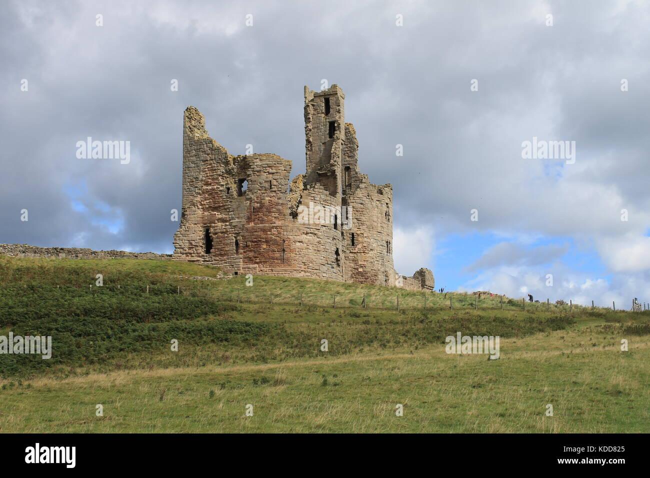 Keep of Dunstanburgh Castle, Northumberland, UK - Stock Image