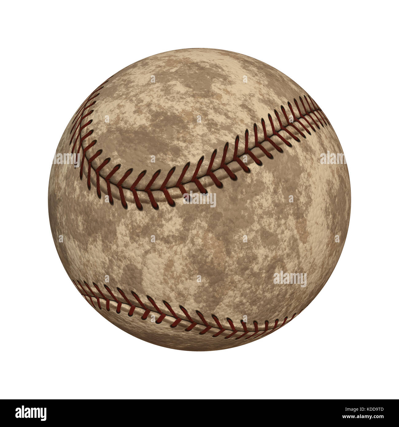 Old worn out baseball isolated on white background - Stock Image