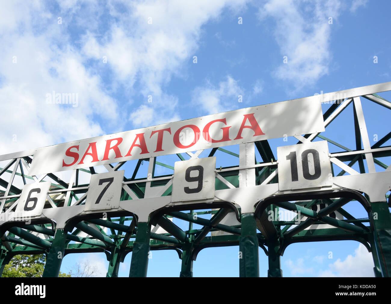 Horse race track gates in Saratoga - Stock Image