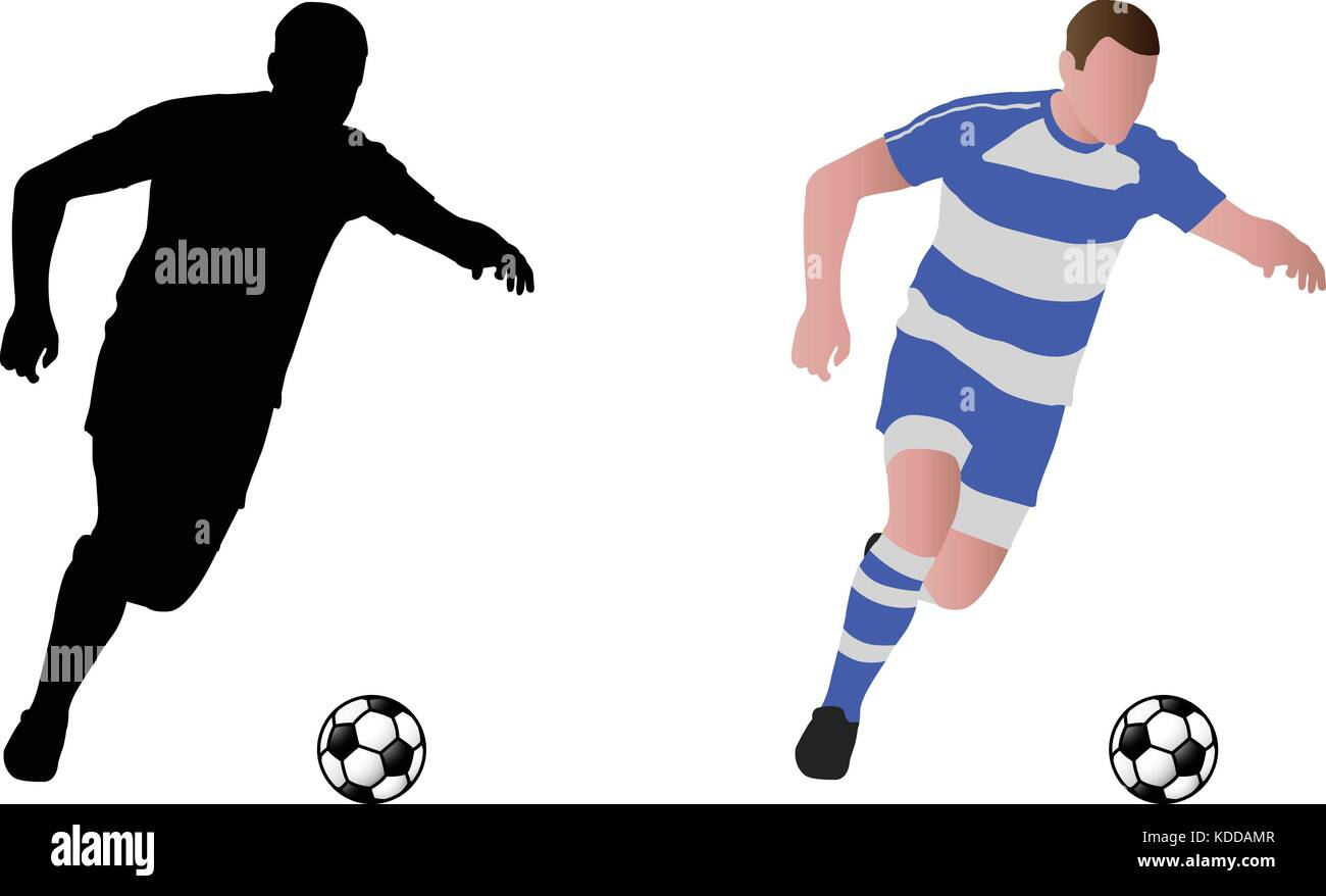 soccer player silhouette and illustration - vector - Stock Image