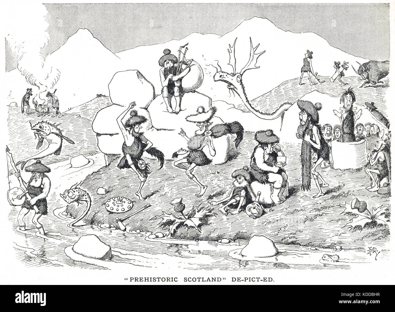 Prehistoric Scotland De-Picted, Punch cartoon of 1900 - Stock Image