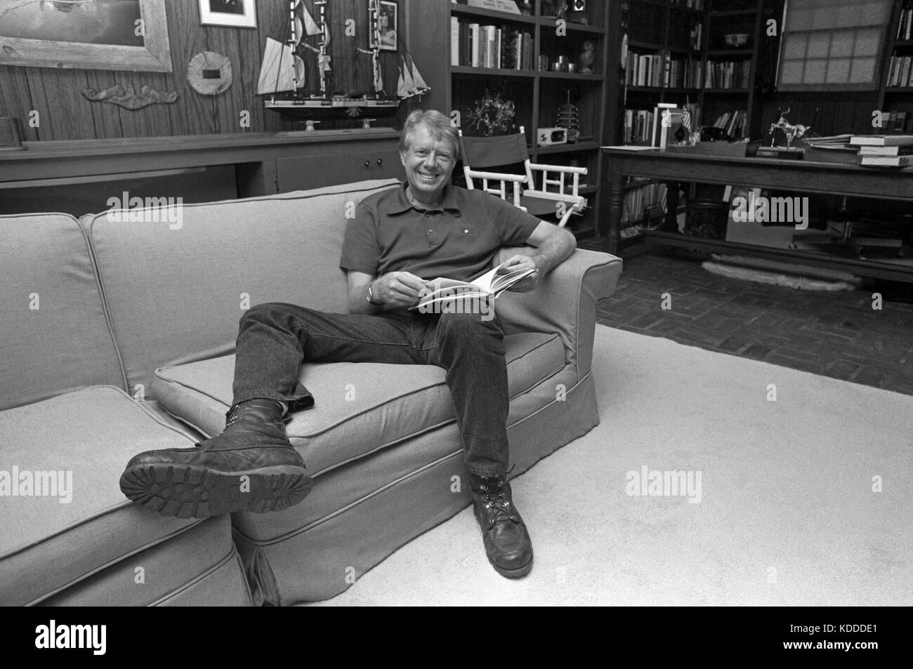 President Elect Jimmy Carter in his study in his Plains, Georgia residence. - Stock Image