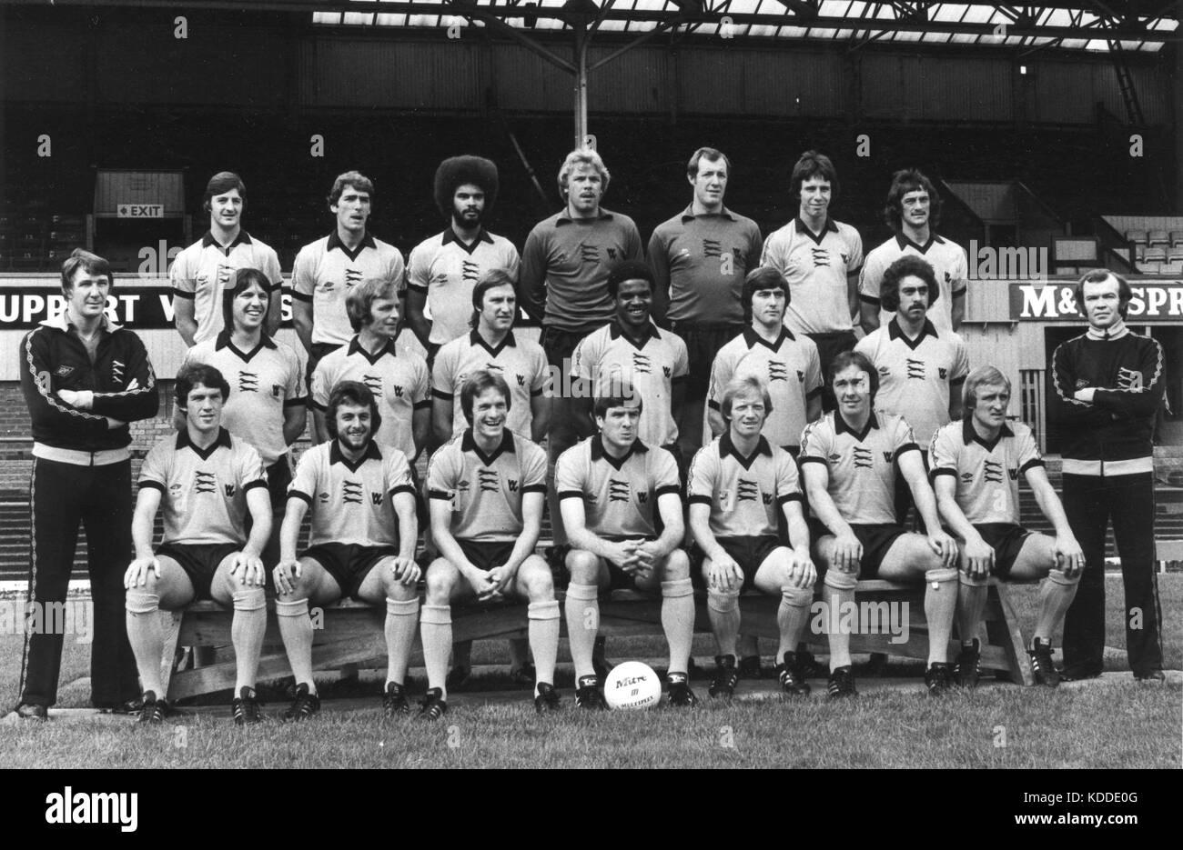 Wolverhampton Wanderers FC 1980 team Back Wayne Clarke, John McAlle, George Berry, Paul Bradshaw, Mick Kearns, Colin - Stock Image
