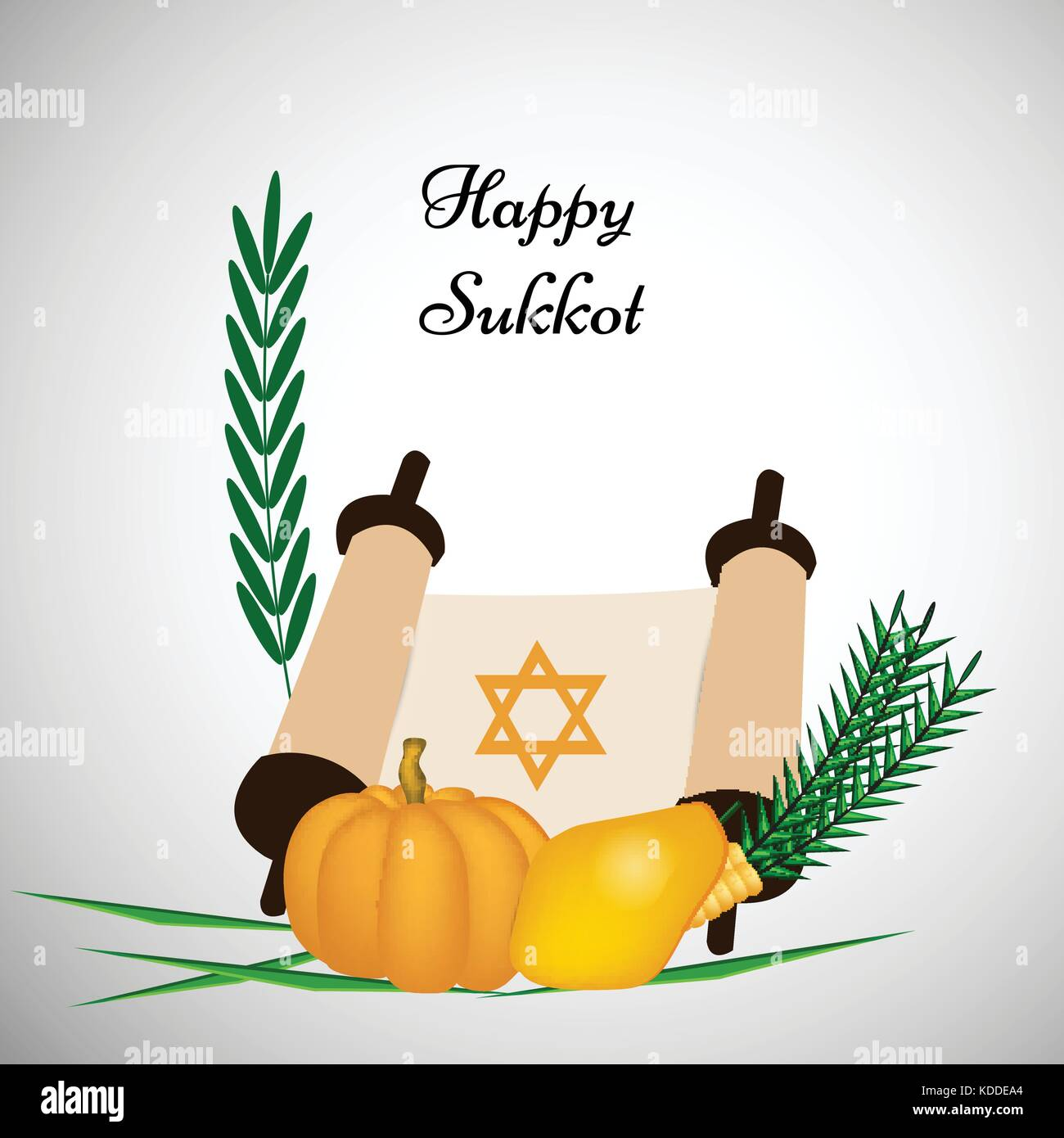 illustration of Jewish Holiday Sukkot background - Stock Vector