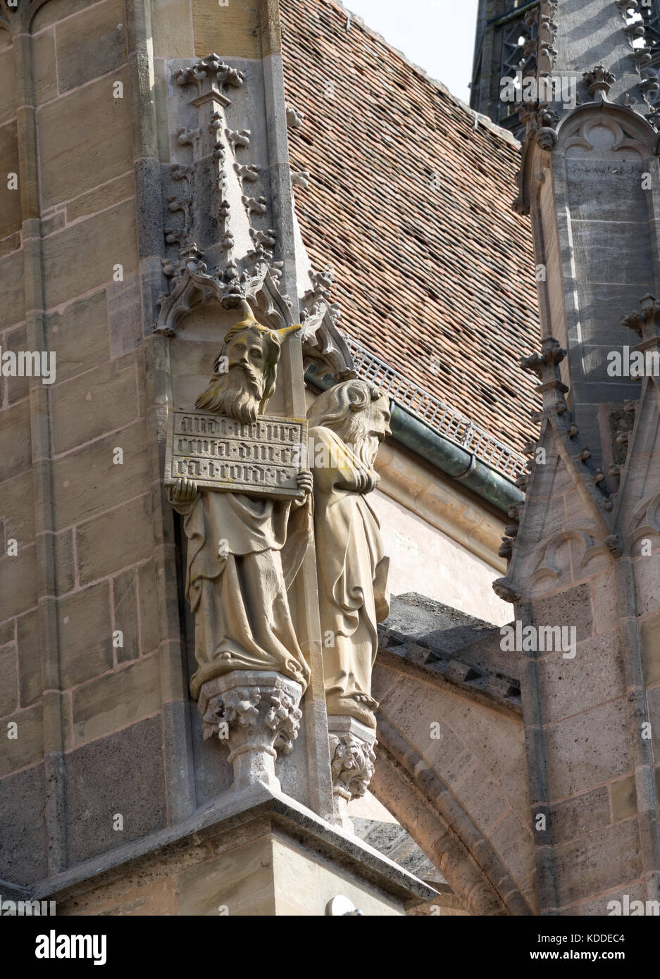 Religious statuary, Kirche St. Jakob, Rothenburg ob der Tauber, Bavaria, Germany, Europe - Stock Image