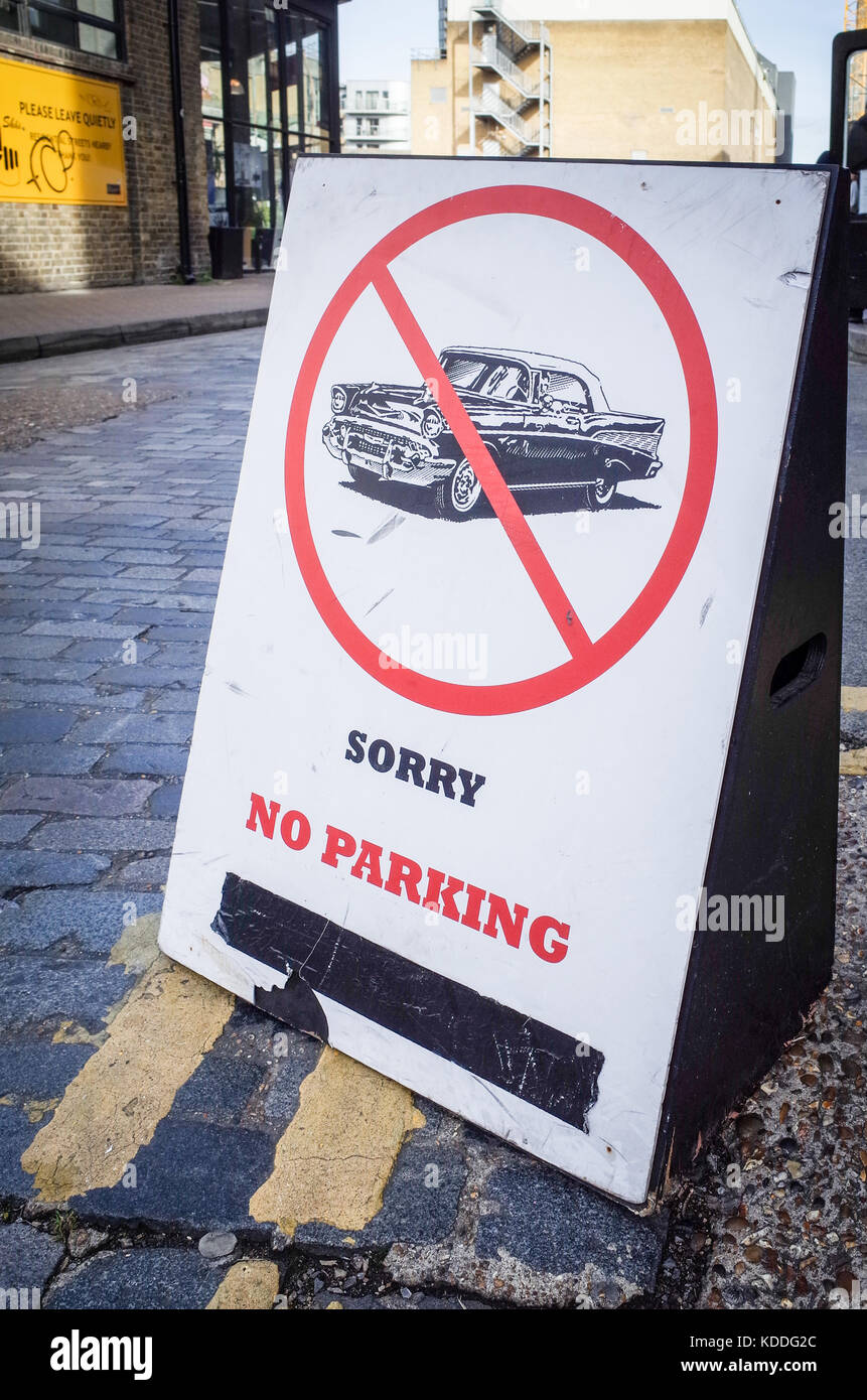 No Parking Sign in Shoreditch London - a stylised retro style no parking sign in London's fashionable Shoreditch - Stock Image